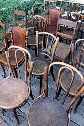 The chairs we've hired......awesome vintage wooden chairs.