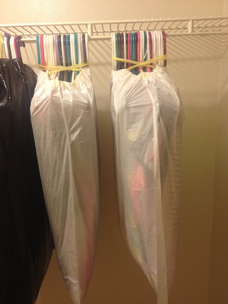 The fastest way to pack a closet. This also keeps your clothes on their hangers, for much faster unpacking.  Hang in closet when you arrive and tear off the bag and you are done! This would also work for off season storage.