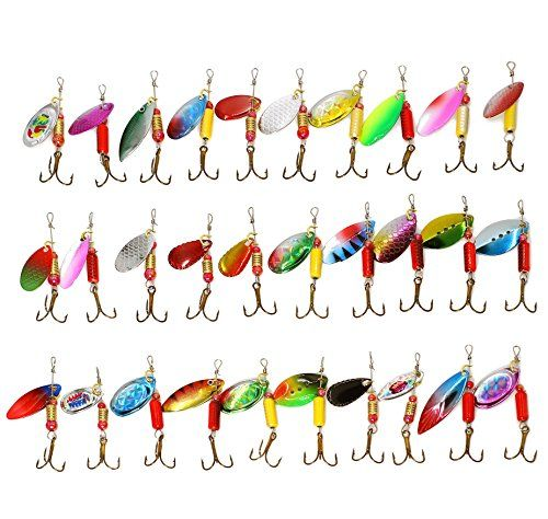 LotFancy 30 PCS Metal Fishing Lures Spinner Baits Crankba...
