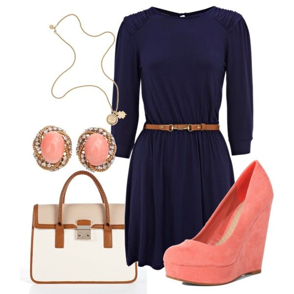 i am buying a navy wrap dress this week H&M 19.95  I wanted to add some cute bright shoes and accessories- coral or yellow: Navy Outfit, Outfit Idea, Style, Dress, Coral Wedge, Work Outfit, Color Combination