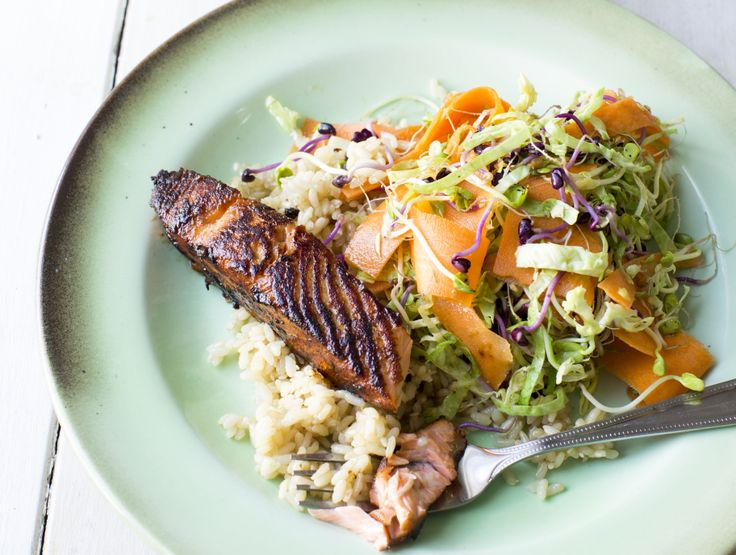 Pan-Fried Miso Salmon with Rice and Spicy Sprout Salad