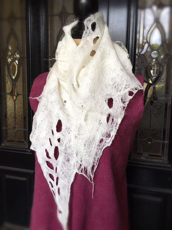 Hand felted wool scarf white cob-web scarf nuno by SilkWoolTouch