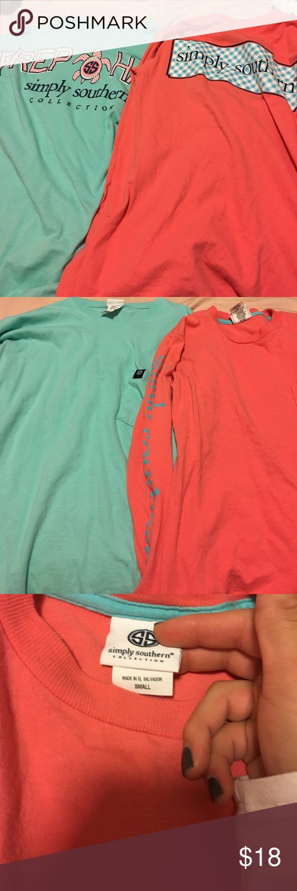 Simply souther long sleeve tees Teal with prep hard on the back, coral with simply souther on the back and written on the left arm. Simply Southern Tops Tees - Long Sleeve