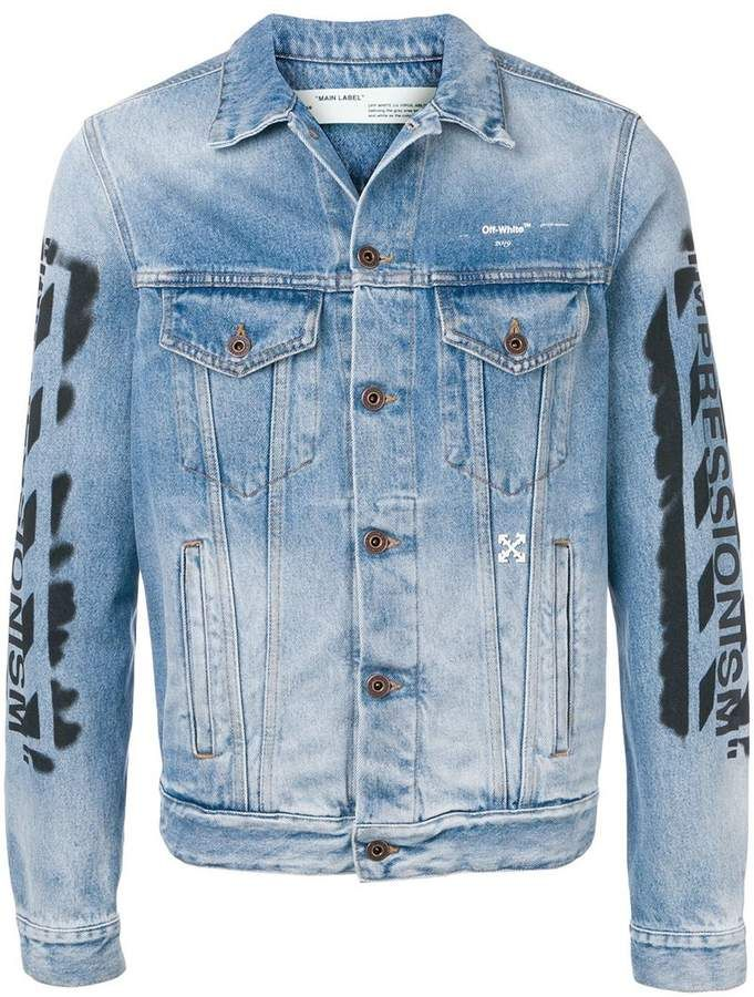 Off White Impressionism Denim Jacket Farfetch Denim Jacket Printed Denim Jacket Printed Denim