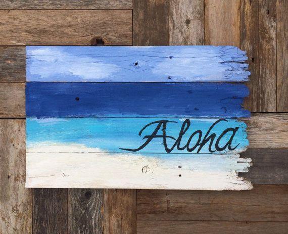 Custom Order Aloha Beach using recycled / salvaged wood on Etsy, $35.00
