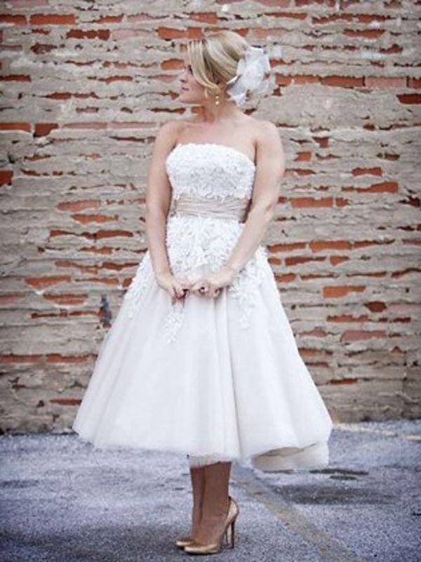 Trägerlose tolle Hochzeit Brautkleider Wadenlang
