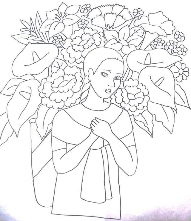 Indigena con flores y tulipanes