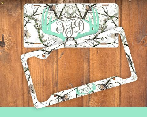 Mint White Antlers Monogram License Plate Frame Holder Metal Wall Sign Tags Personalized Custom Vanity Plate