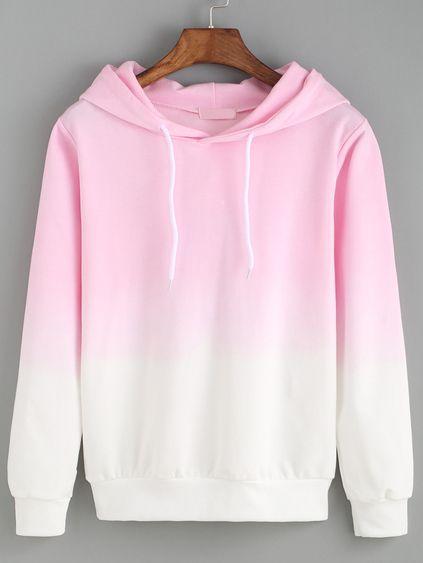 Hooded Pink Ombre Loose Sweatshirt