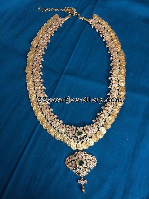 Silver Kasu Mala with Earrings - Jewellery Designs