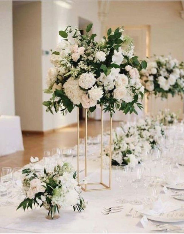 Chrome Modern Rectangle Stand Metal Geometric Vase Metal Etsy Flower Centerpieces Wedding Wedding Floral Centerpieces Tall Wedding Centerpieces
