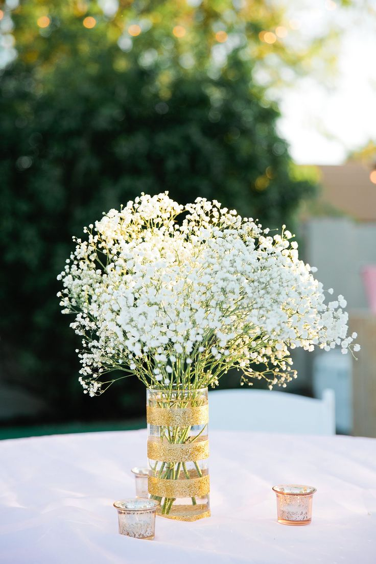 Gold Sparkly Vase with Baby's Breath Centerpiece                                                                                                                                                                                 More