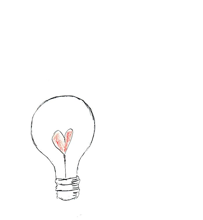 Scratchy ink drawing of heart lightbulb for a tattoo idea