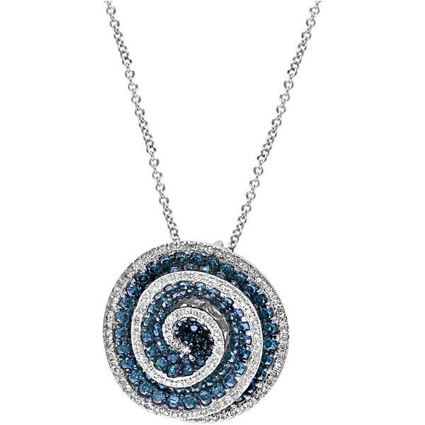 Effy Blue Diamond & 14K White Gold Swirl Pendant Necklace ($1,897) ❤ liked on Polyvore featuring jewelry, necklaces, blue pendant necklace, white gold necklace, 14k white gold pendant, diamond necklace and diamond necklace pendant