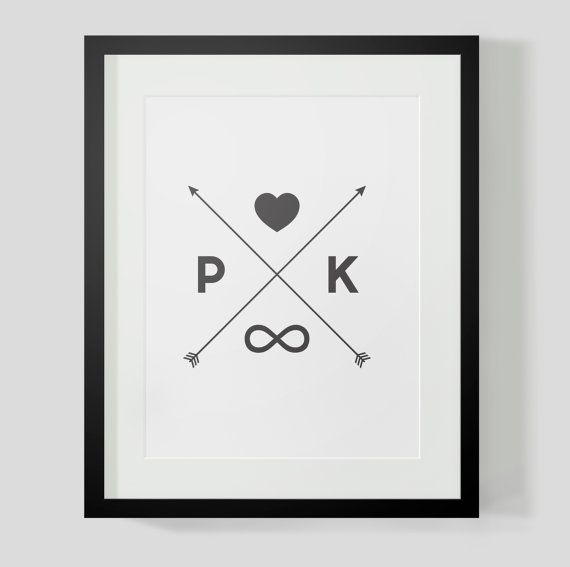Monogram Initials Crossed Arrows Print - Heart, Invfinity, ANY Color Combo Your Choice - Valentine's Day, Anniversary Gift, Wedding Gift on Etsy, $9.18 AUD