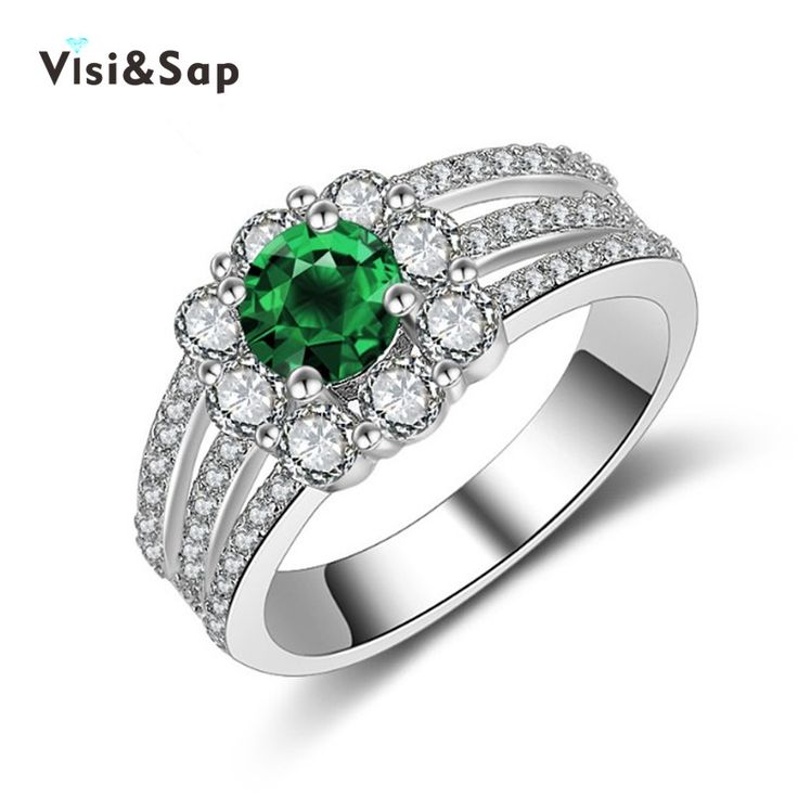Emerald green ring White gold plated Wedding anel gift engagement Rings For Women clear cz diamond fashion Jewelry bijoux VSR194