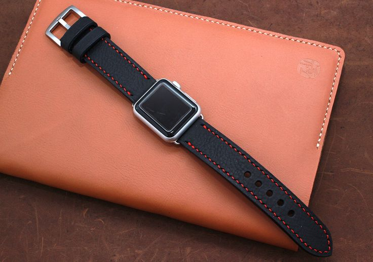Hand Stitched Apple Watch Band Strap in Pebble Textured BLACK Leather by ZenokLeather on Etsy https://www.etsy.com/ca/listing/252347718/hand-stitched-apple-watch-band-strap-in