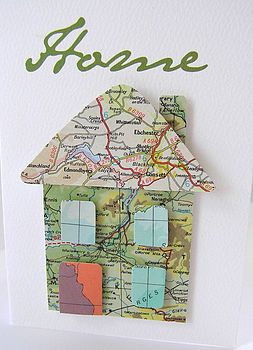 new home congrats card - 3D house (triangle roof, rectangle chimney, square house, small squares as windows, rectangle door) cut from map section