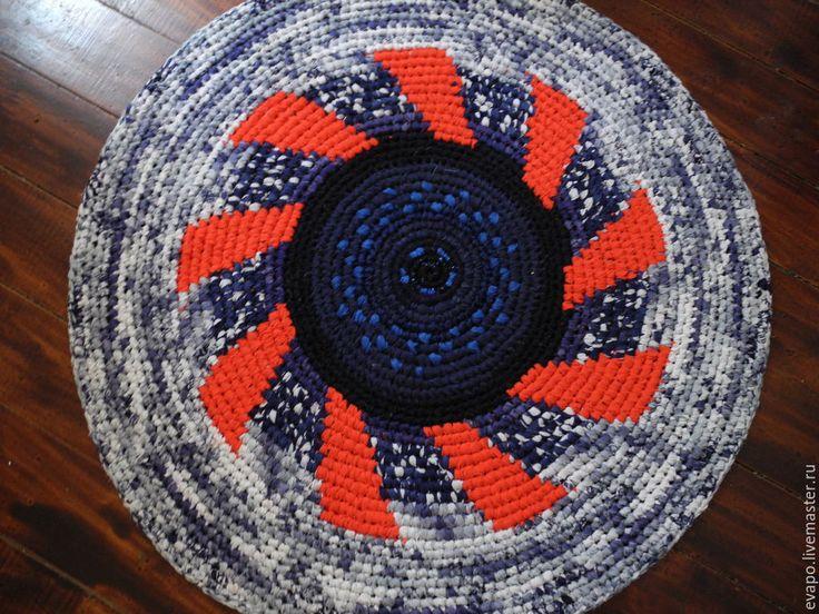 """Купить Ковер ручной работы """"Нью-Йорк"""" - ярко-красный, синий, белый, ковер текстильный"""