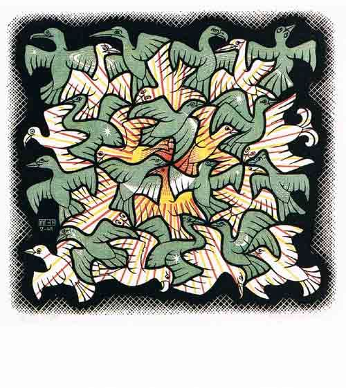 Titel: sun and Moon. Kunstenaar: M.C. Escher. Details: Woodcut, 1948. Postkaart.