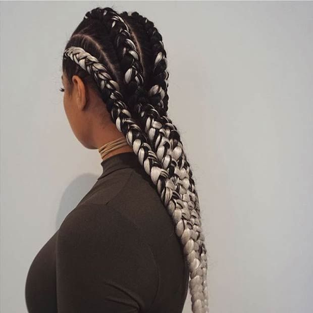 Black and White Ombre Ghana Braids