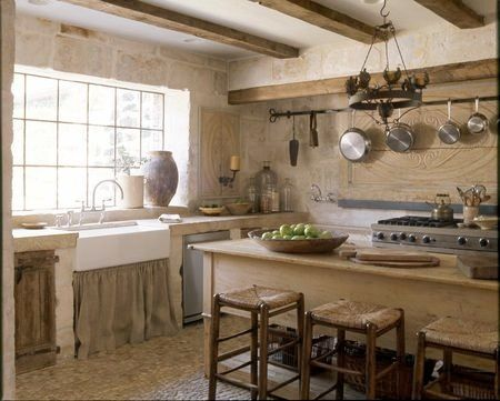 Kitchen With Lots Of Stonework Reclaimed Wood Cabinet Doors Sink Skirt To Soften