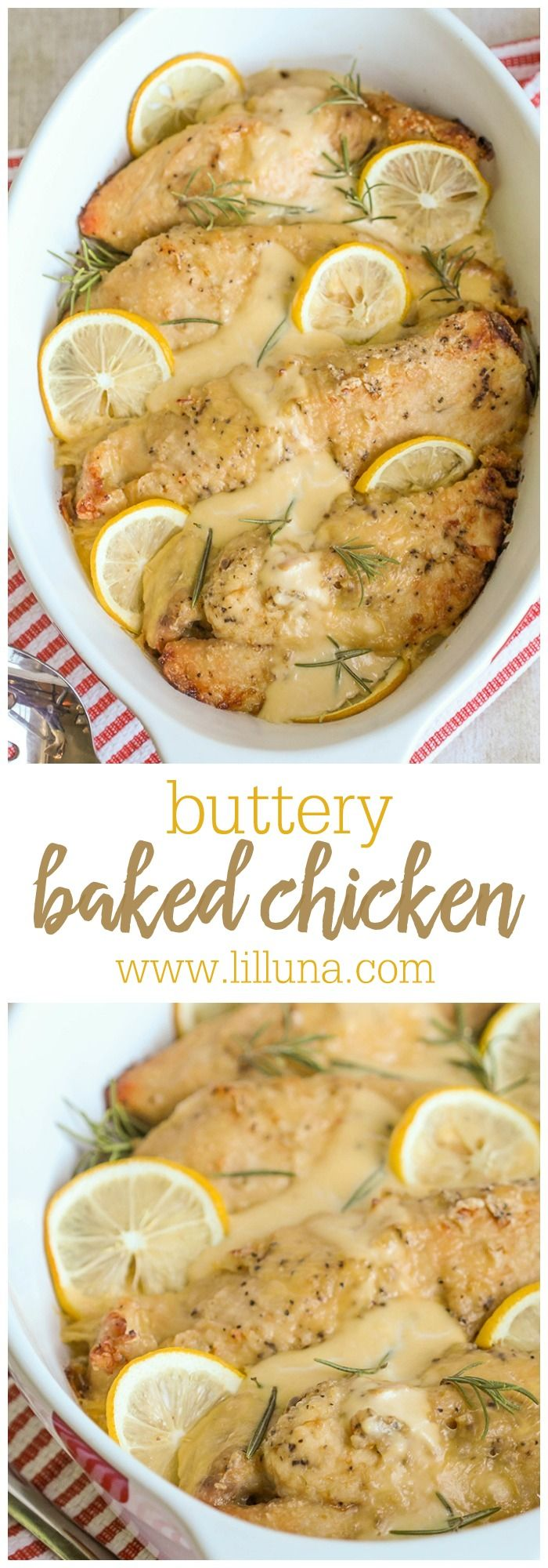 Delicious Buttery Baked Chicken - another easy and yummy dinner recipe! { lilluna.com } Chicken cooked with evaporated milk, butter, and cream of chicken soup for a delicious and creamy dish!