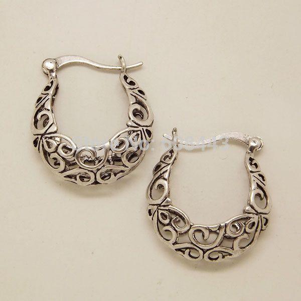 EQ070 Retro Tibetan Silver Hollow Plant Fashion Vintage Earrings For Women Wholesale 2014 NEW Jewelry