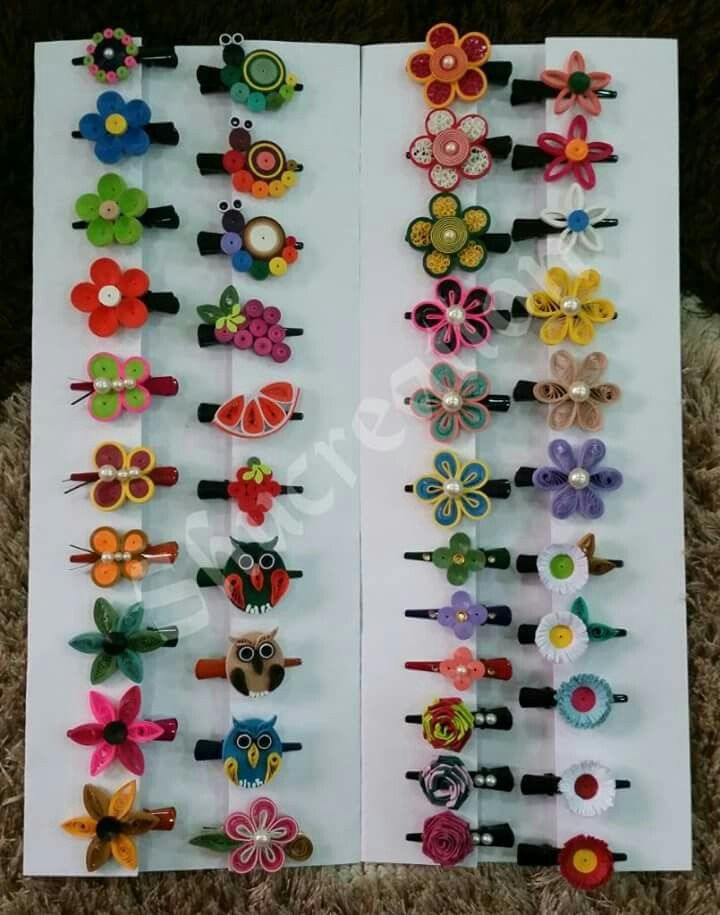 Quilling (an artistic rolled paper technique) used here to create #unique, one-of-a-kind #hair pins. #QUILLING