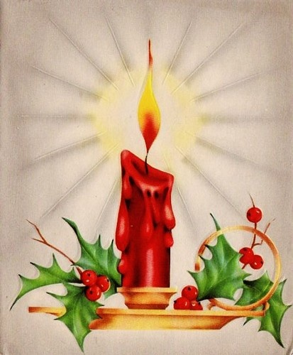 Vintage Christmas Candle Card ~ Silvery Highlights