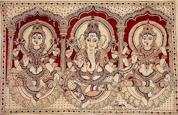 Indian Painting Styles...Kalamkari Paintings (Andhra Pradesh)-ganesha_with_lakshmi_and_saraswati-1-2-.jpg