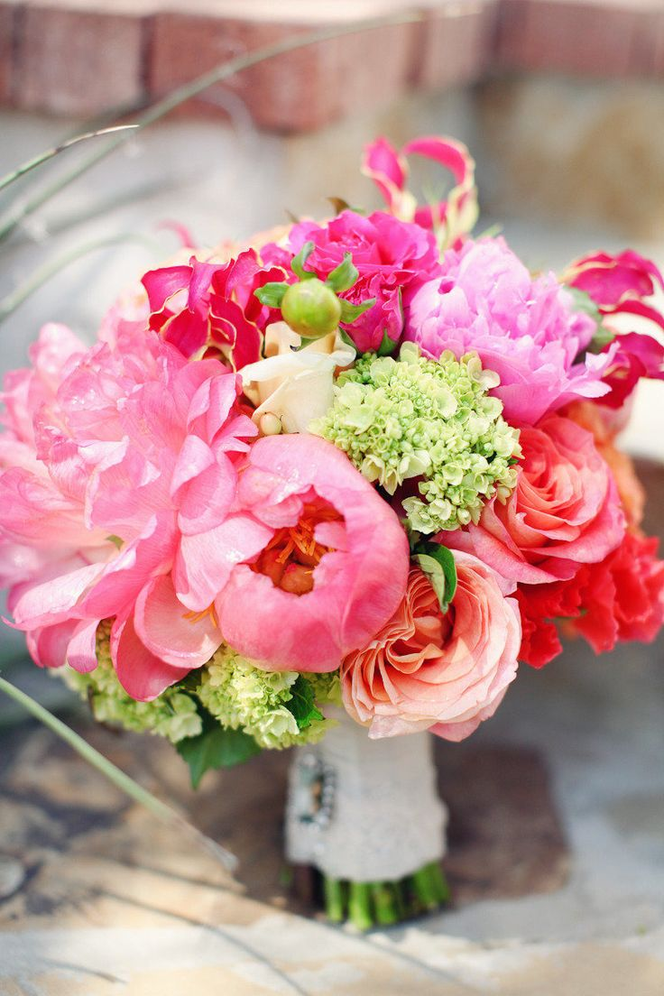 Bright and colorful bouquet with peonies too!