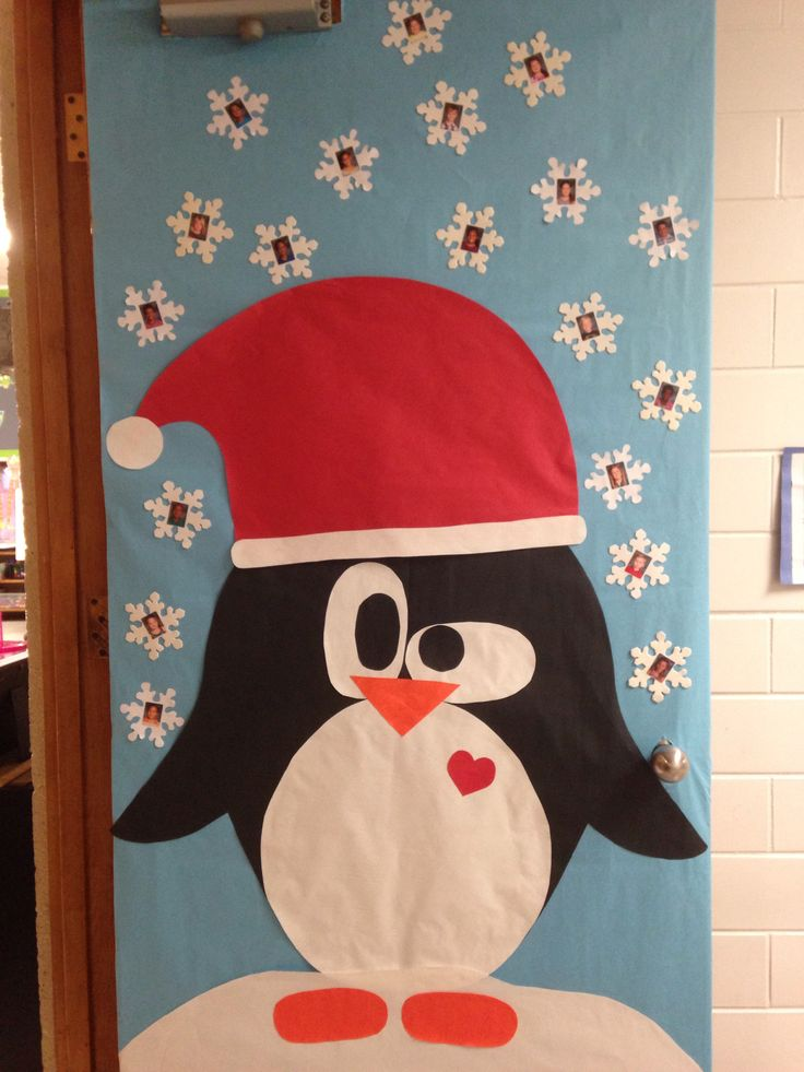 Christmas penguin door I did for our classroom. Each kid is a snowflake! ❤️
