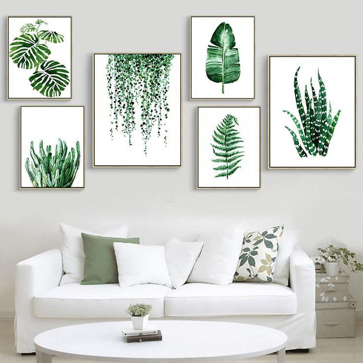 Moderne Grün Tropische Pflanze Blätter Leinwand Kunstdruck Poster, nordic Grüne Pflanze Wand Bilder Kinder Zimmer Große Malerei Kein Rahmen in Mod…