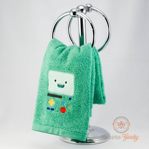 Adventure Time BMO Inspired  Embroidered Hand Towel by SeamsGeeky