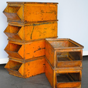 vintage orange bin.....I soooooooooooooo want these~~~~Orange Crushes, Vintage Orange, Industrial, Furnituree Drawers Bins Met, Furniture Drawers Bins Met, Rustic Orange, Vintage Bins, Orange Bins I, Bins Orange