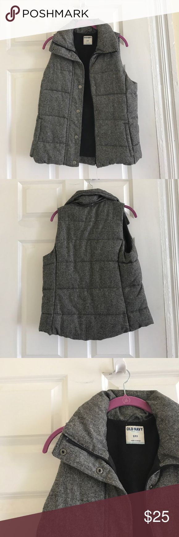 Gray Old Navy Vest Selling a thick, gray Old Navy vest - size Small. Never worn before - in perfect condition! Sleeveless, thick, and a dark gray color with a soft inner black lining. Old Navy Jackets & Coats Vests