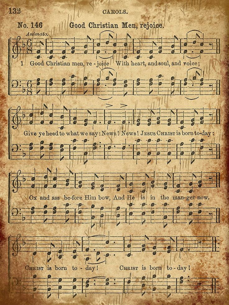 print out vintage music sheets to use for Christmas crafts