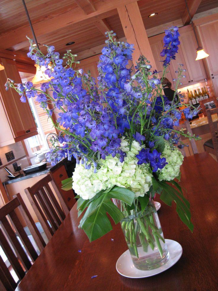 Memorial flowers tall vase arrangement of vibrant blue for Flower arrangements with delphinium