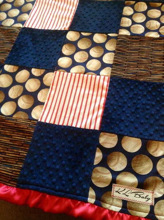 Classic Sports Baseball Blanket by KLBaby on Etsy, $50.00. That is too cute.