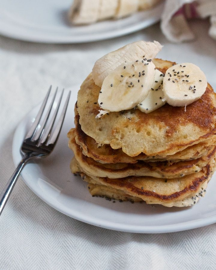 Peanut Butter Pancakes with Banana & Chia from @bgsk