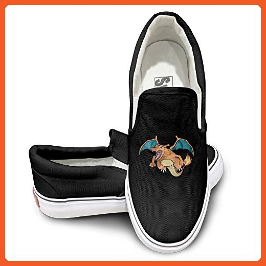 EWIED Unisex Classic Pokemon Go Charizard Slip-On Shoes Black Size44 - Loafers and slip ons for women (*Amazon Partner-Link)