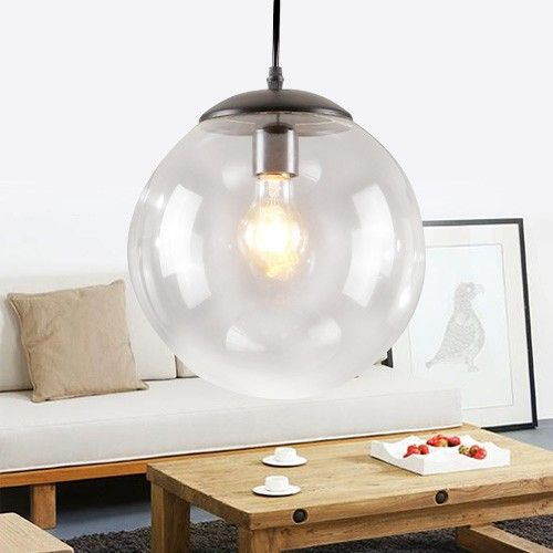 Simple Single Pendant Light with a Glass Globe Shade - Pendant Lights - Ceiling Lights - Lighting