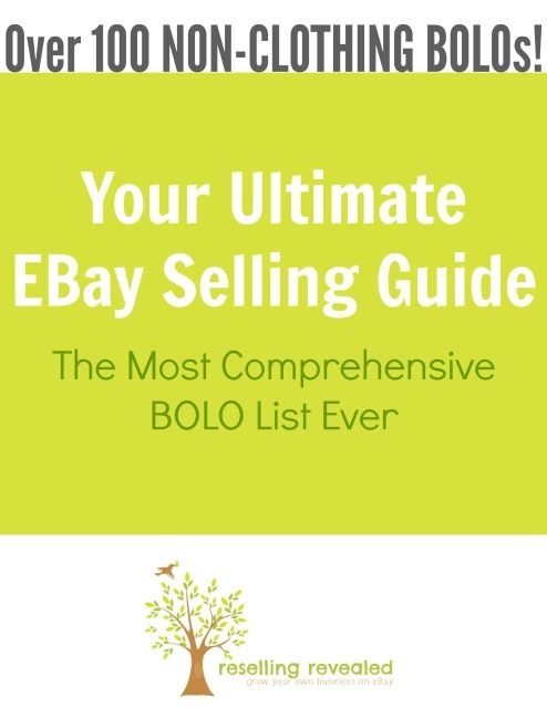 We are proud to offer the most complete eBay Seller's BOLO Guide.  If you want to know what to sell on eBay, it will give you over 300 exact items that you can flip for a great profit!