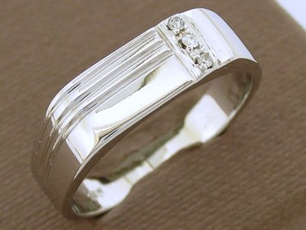 MR53 Solid 9ct White Gold Mens Natural Diamond Signet Ring Size T | eBay