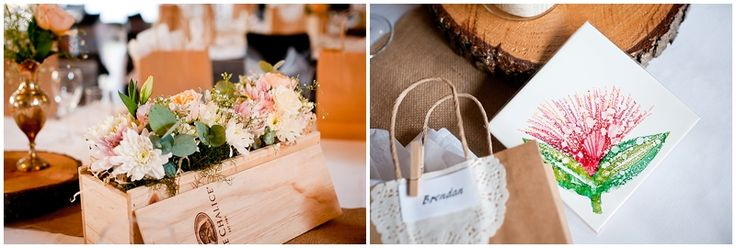 Beautiful table arrangement flowers in jars and wine boxes and brass vases. Peach Roses, Gypsophila, lambs ear greenery. Flowers by One Poppy Wedding Flowers Auckland, Photography by Handmade, Venue Mt Vernon Estate Akaroa.
