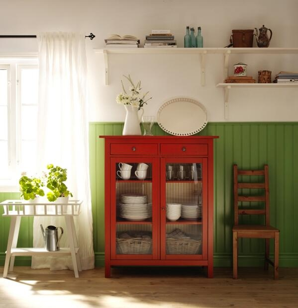 IKEA USA (DesignByIKEA) on Twitter Love the green 3/4 walls and the pop of the red cabinet
