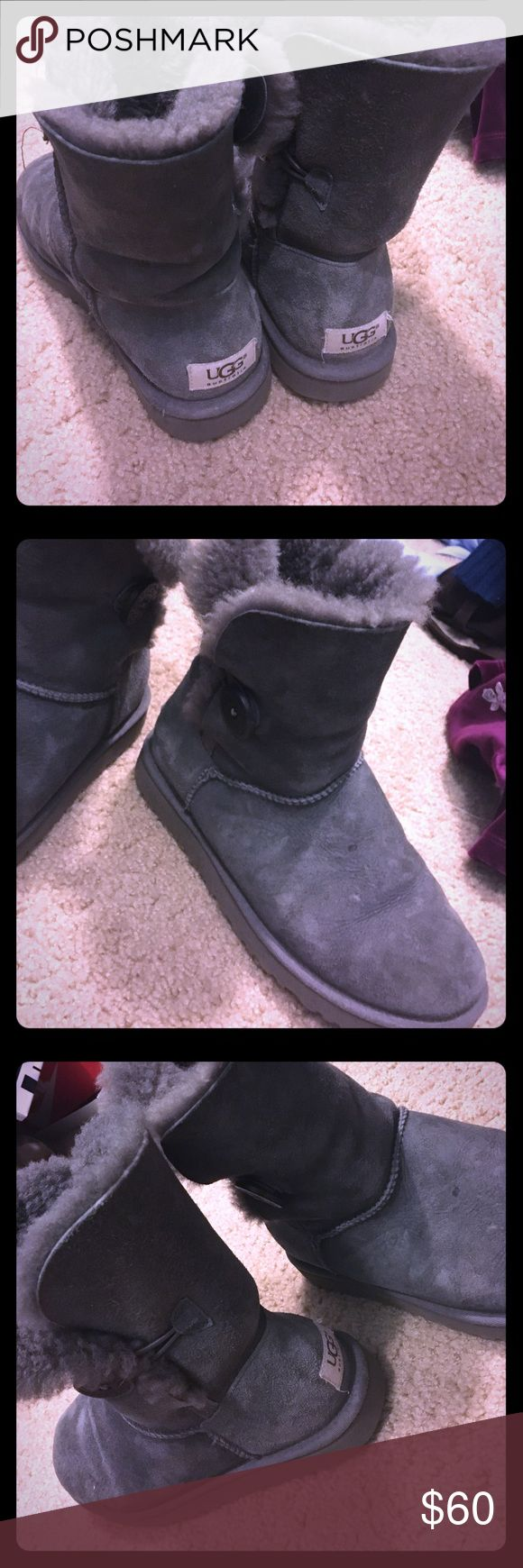 Grey Ugg button boots 8.5/10 condition! Barely worn UGG Shoes Winter & Rain Boots