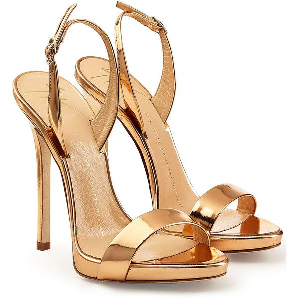 Giuseppe Zanotti Metallic Patent Leather Sandals ($395) ❤ liked on Polyvore featuring shoes, sandals, heels, gold, platform heel sandals, nude sandals, strap sandals, high heels stilettos and strappy high heel sandals