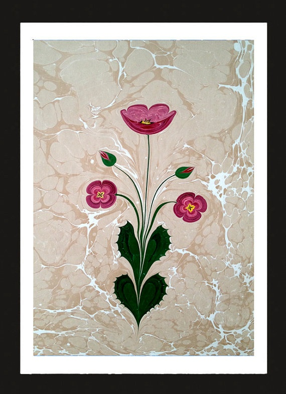 Original HandmadeTraditional Turkish Art of Marbled by dilekdolgos, $39.00